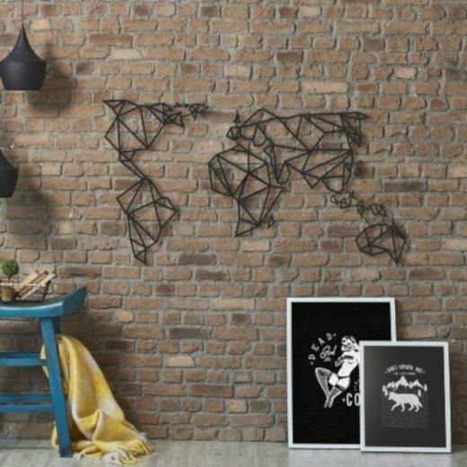 Hoagard Metall Wandbild »WELTKARTE aus Metall mattschwarz«, Wanddekoration aus Metall