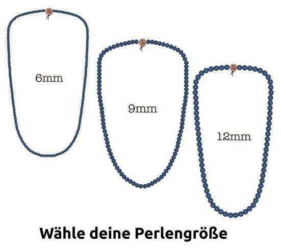 WOOD FELLAS Halsband »WOOD FELLAS Mode-Schmuck schöne Holz-Kette Deluxe Pearl Necklace Hals-Schmuck Blau«