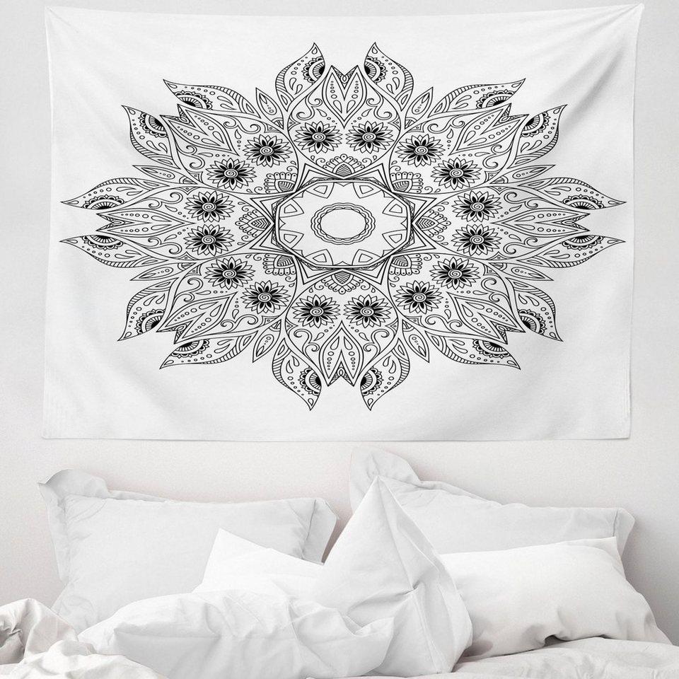 Wandteppich Aus Weiches Mikrofaser Stoff Fur Das Wohn Und Schlafzimmer Abakuhaus Rechteckig Blumen Mandala Schwarz Weiss Online Kaufen Otto