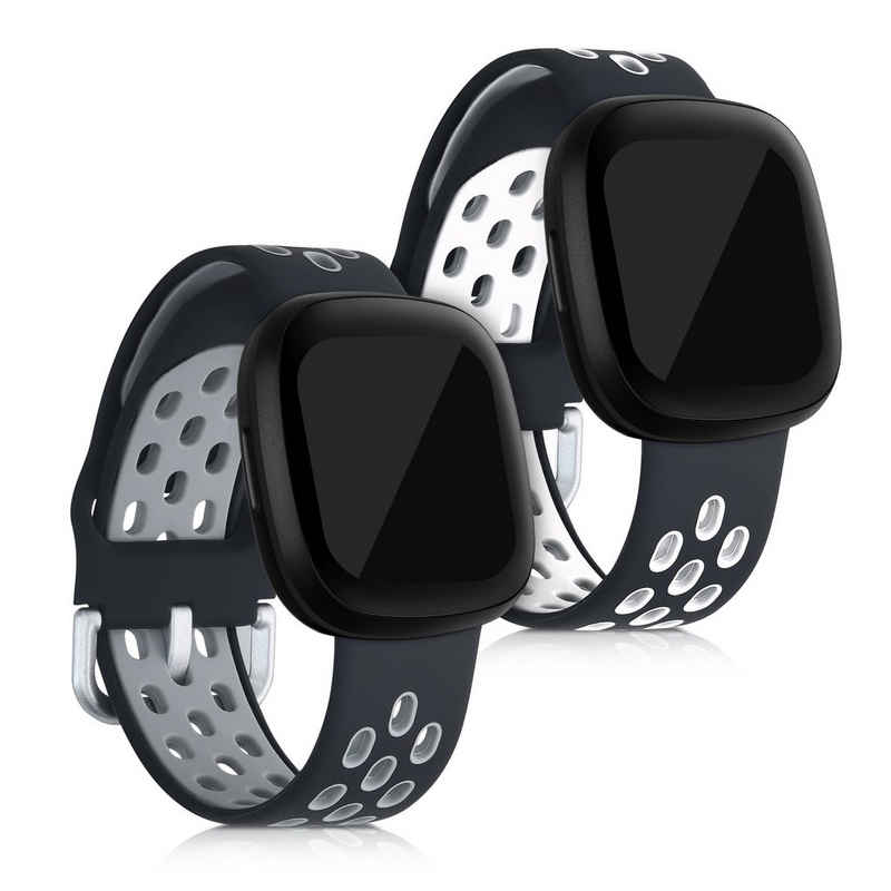 kwmobile Uhrenarmband, 2x Sportarmband kompatibel mit Fitbit Versa 3 / Sense - Armband TPU Silikon Set Fitnesstracker
