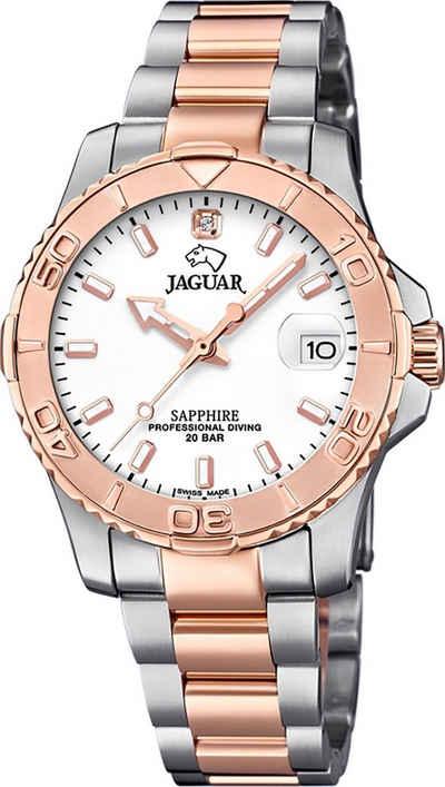 Jaguar Quarzuhr »UJ871/1 Jaguar Damen Armbanduhr Cosmopolitan«, (Analoguhr), Damenuhr rund, mittel (ca. 34mm), Edelstahl, Edelstahlarmband, Fashion-Style