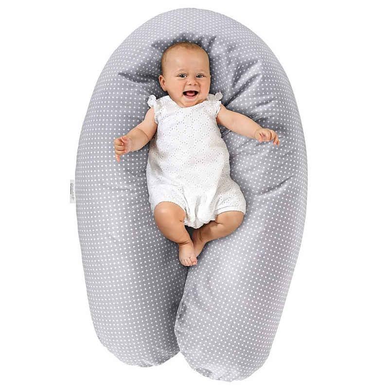 Theraline Stillkissen »Dodo Pillow Premium - Grau«, 2-tlg., Lagerungskissen / Schwangerschaftskissen 180 cm Baumwollbezug, Füllung: Mikroperlen