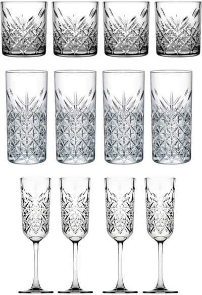 van Well Gläser-Set »Timeless«, Glas, Strukturglas, 12-teilig