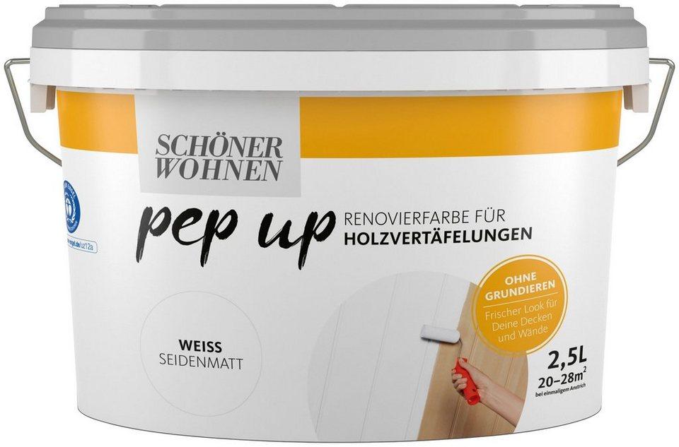 Schoner Wohnen Farbe Renovierfarbe Pep Up Weiss Seidenmatt Fur Holzvertafelungen 2 5 L Online Kaufen Otto