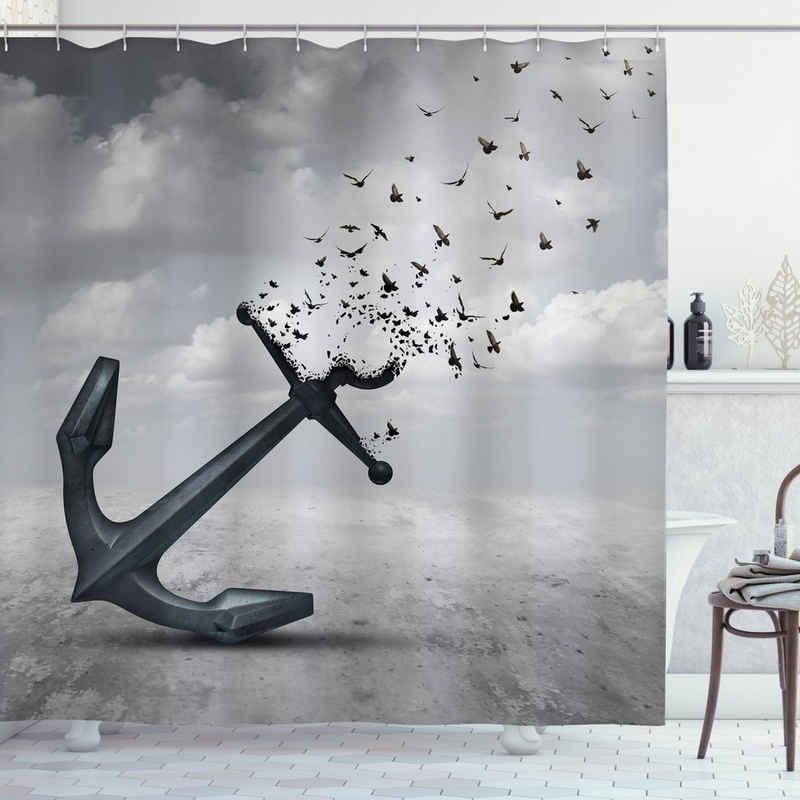 Abakuhaus Duschvorhang »Moderner Digitaldruck mit 12 Haken auf Stoff Wasser Resistent« Breite 175 cm, Höhe 180 cm, Anker Flugwesenseemöwen Grau