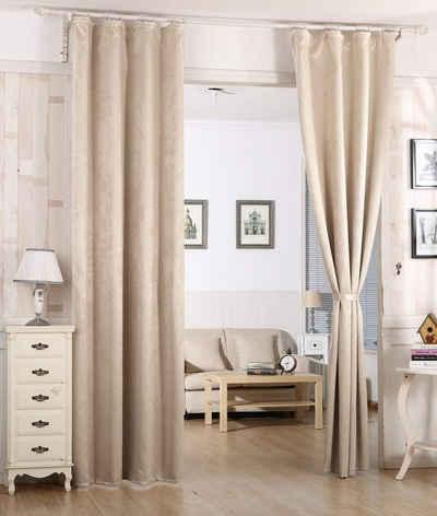 Gardine, Woltu, Vorhang mit Kräuselband Damast Optik (1 Stück)