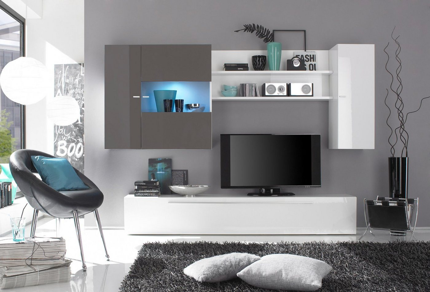 wandregal hochglanz weiss machen sie den preisvergleich. Black Bedroom Furniture Sets. Home Design Ideas