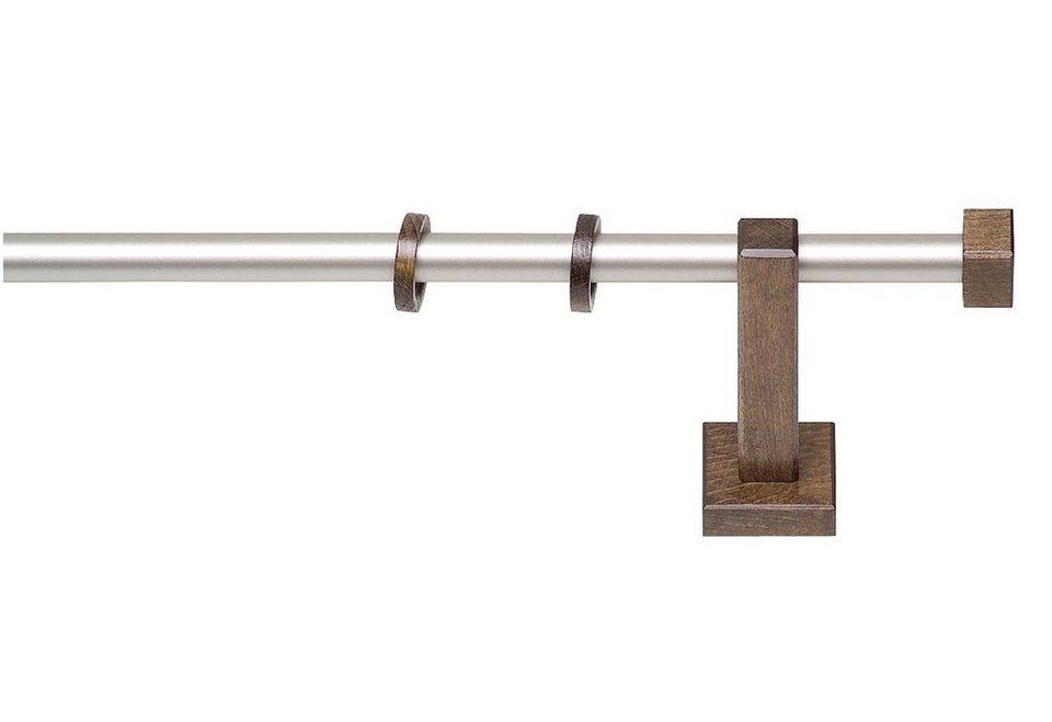 Gardinenstange, Garesa, »Cubus Quad«, nach Maß ø 20 mm in chrom matt/nussbaum