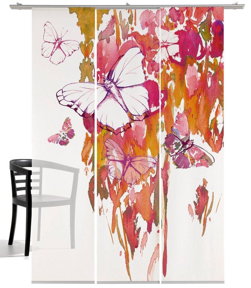 Schiebegardine, Emotiontextiles, »Butterfly«, mit Klettband (3 Stück mit Zubehör) in Weiß-lilatöne/orange