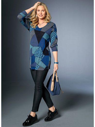 MIAMODA Pullover mit trendigem Patchdruck