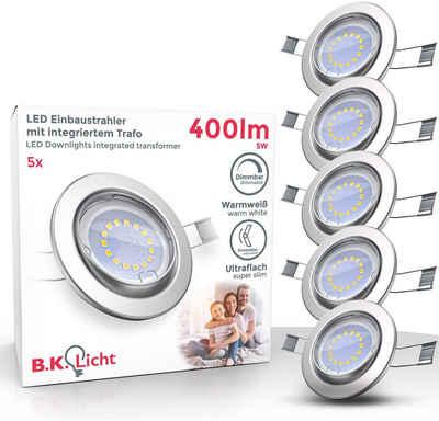 B.K.Licht LED Einbauleuchte, LED Einbaustrahler dimmbar ohne Dimmer GU10 Decken-Spot inkl. 5W 400lm 5er SET