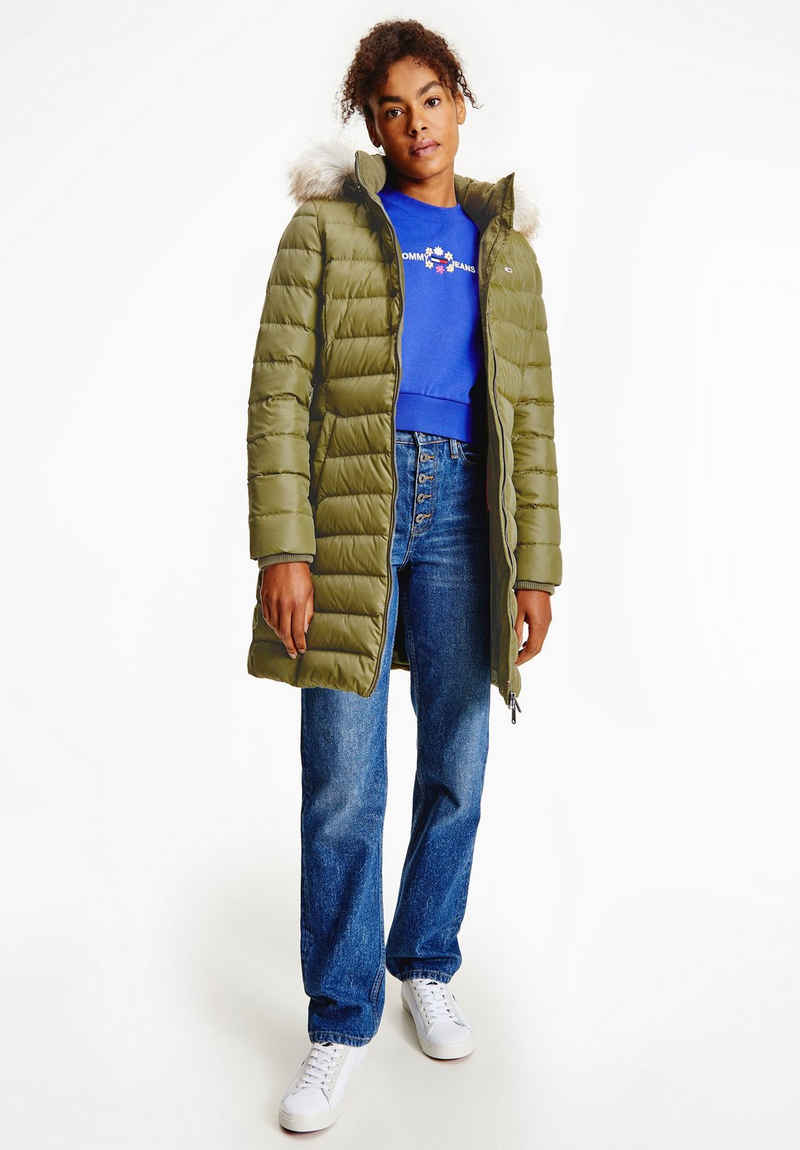 Tommy Jeans Steppjacke »TJW ESSENTIAL HOODED DOWN COAT« mit abnehmbarem Fellimitat an der Kapuze