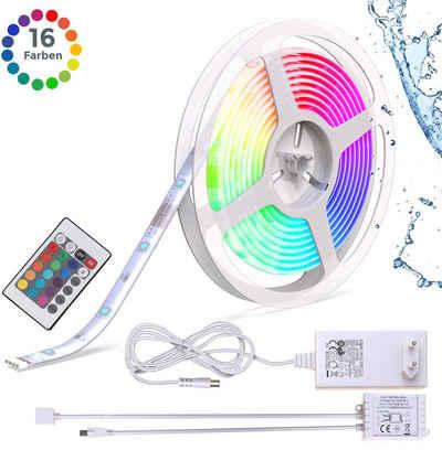 B.K.Licht LED-Streifen, 5m LED Band/Stripe IP44 Farbwechsel dimmbar inkl. Fernbedienung