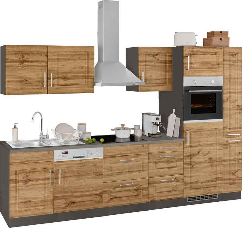 HELD MÖBEL Küchenzeile »Stockholm«, mit E-Geräten, Breite 310 cm, mit hochwertigen MDF Fronten im Landhaus-Stil