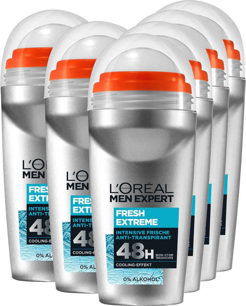 L'ORÉAL PARIS MEN EXPERT Deo-Roller »Deo Roll-on Extreme Fresh«, Packung, 6-tlg.