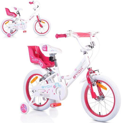 Byox Kinderfahrrad »Kinderfahrrad white Princess 16 Zoll«, 1 Gang 1 Gang, keine, weiß Stützräder Metall-Rahmen Klingel