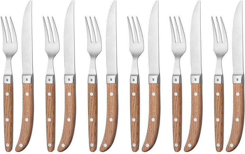 WMF Steakbesteck »Ranch«, Cromargan Edelstahl 18/10 mattiert, Eichenholz geölt, 12-teilig