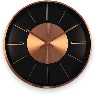 K&L Wall Art Wanduhr »lautlose moderne Aluminium Wanduhr 30cm Durchmesser Uhr ohne Ticken« (Kupfer Optik, Quarz Uhrwerk, Lounge, Schlafzimmer, Büro, Küche)