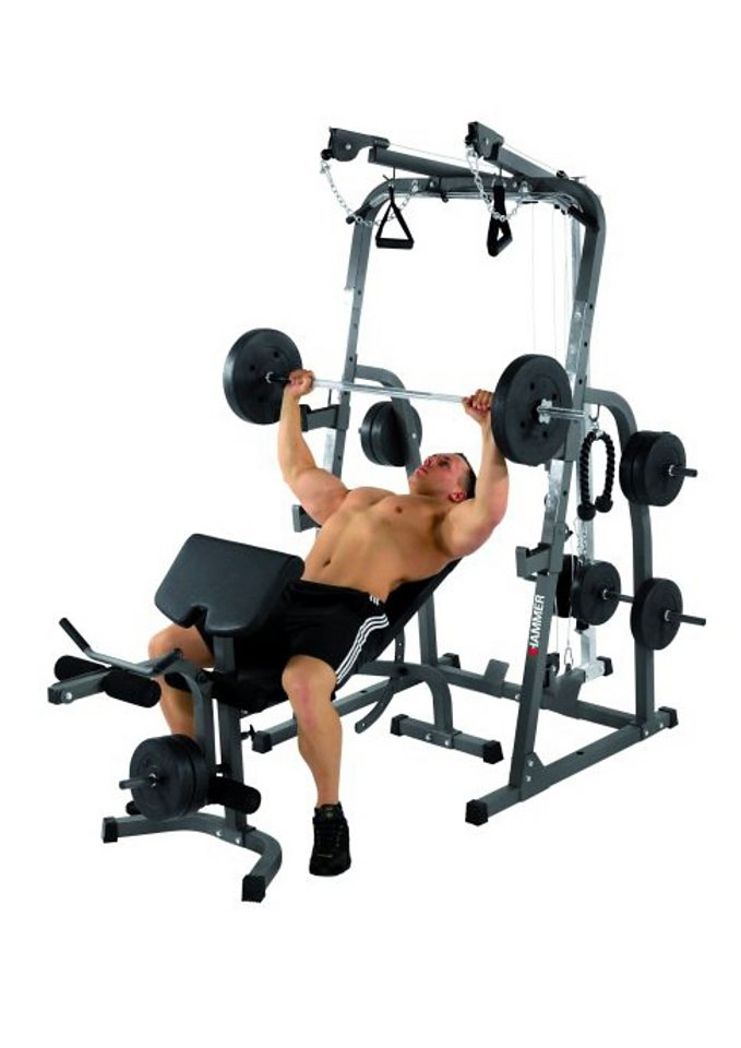 Hantelbank, Hammer, »Solid XP«, mit 76 kg Gewichte-Set in anthrazit