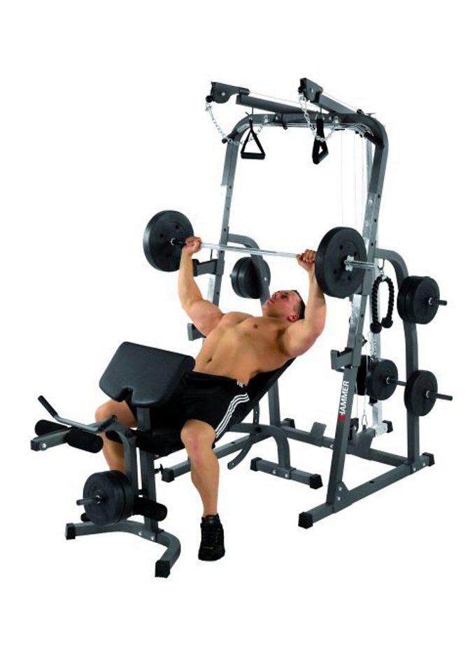 hantelbank hammer solid xp mit 76 kg gewichte set. Black Bedroom Furniture Sets. Home Design Ideas