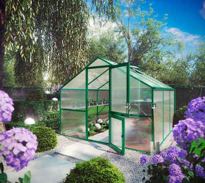 KGT Gewächshaus »Orchidee III«, BxTxH: 297 x 323 x 233 cm, 10 mm Wandstärke, mit Regenrinne