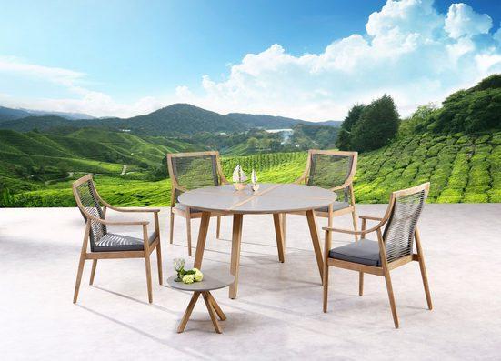 BEST Gartenmöbelset »Barletta«, 6-tlg., 4 Sessel, Tisch Ø140 cm, Beistelltisch, Grandis Holz