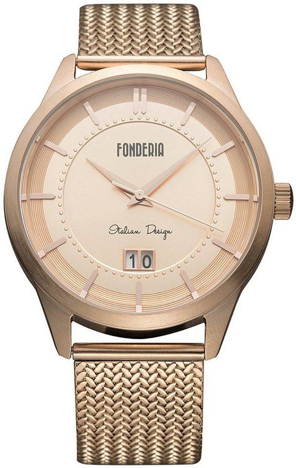 fonderia -  Quarzuhr »UAP8R010UR1  Herren Uhr P-8R010UR1«, (Analoguhr), Herren Armbanduhr rund, rosegold, rosegold