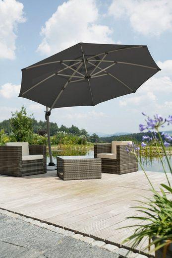 Schneider Schirme Ampelschirm »Rhodos Rondo«, LxB: 350x390 cm, mit Schutzhülle und Schirmständer, ohne Wegeplatten