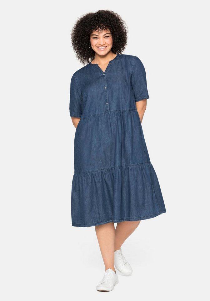 sheego -  Jeanskleid aus leichtem Denim, in Volant-Optik