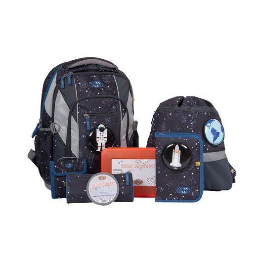 SCHOOL-MOOD® Schulrucksack »Loop Air Louis Schulrucksack 7er Set« (7 teiliges Set), Schultasche Schulranzen mit Federmappe und Zubehör zur Einschulung Grundschule
