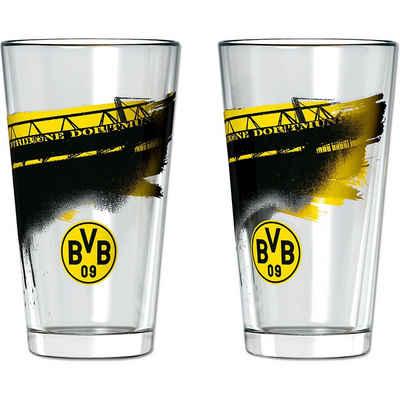 Borussia Dortmund Glas »BVB-Wasserglas mit Südtribüne (2 Stück)«