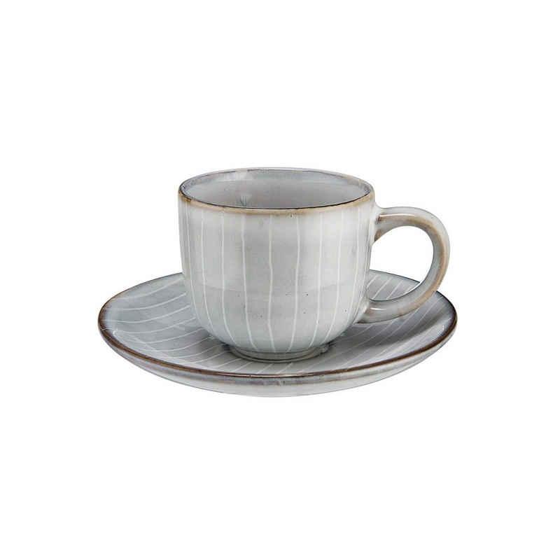 BUTLERS Espressotasse »HENLEY 4x Espressotasse mit Untertasse 90ml«, Steinzeug, reaktive Glasur, 4x Tasse mit Untertasse in Hellgrau - aus Steinzeug - Füllmenge: 90ml - Espresso, Kaffee