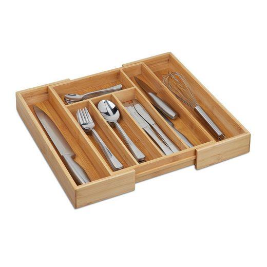 relaxdays Besteckkasten »Besteckkasten hoch Bambus ausziehbar«