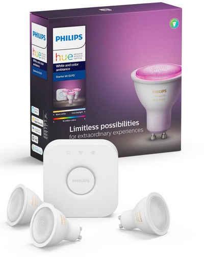 Philips Hue »White and Color Ambiance« LED-Leuchtmittel, GU10, Warmweiß, Tageslichtweiß, Neutralweiß, Extra-Warmweiß, Farbwechsler, 3er Starter Set 3x350lm