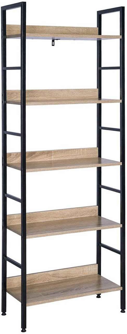 Woltu Bücherregal, Hochregal Bücherregal Metallregal Schuhregal Badregal Blumentreppe aus Holz und Stahl, mit 5 Ablagen, ca. 60 x 27,5 x 160 cm