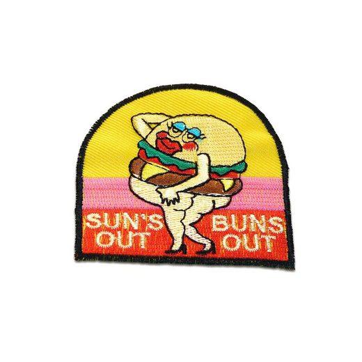 Catch the Patch Aufnäher, Polyester, Suns out buns out Burger Sommer - Aufnäher, Bügelbild, Aufbügler, Applikationen, Patches, Flicken, zum aufbügeln, Größe: 6,8 x 7 cm