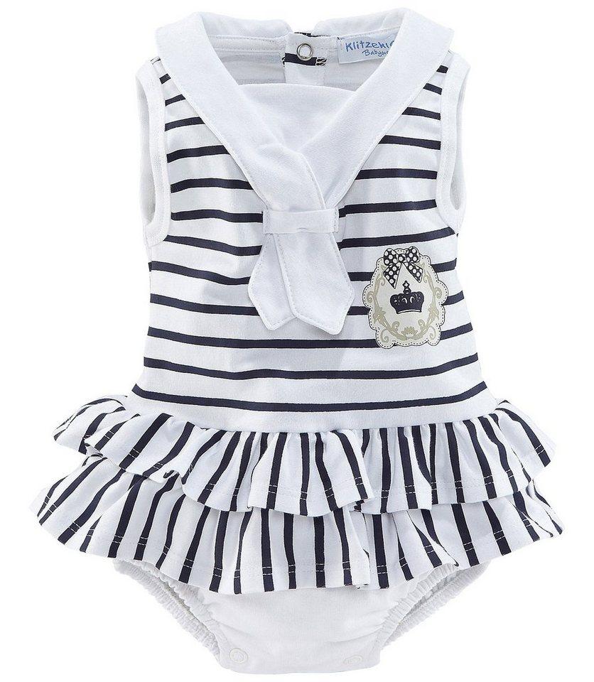 Klitzeklein Spieler-Body, für Baby Mädchen in weiß/ blau