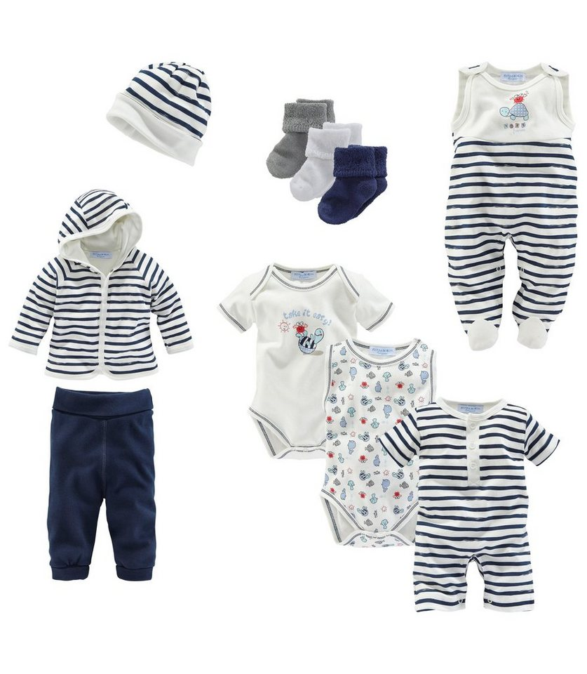 Klitzeklein Starterpaket (Packung, 10-tlg.), für Babys in Blau-Offwhite-Bedruckt
