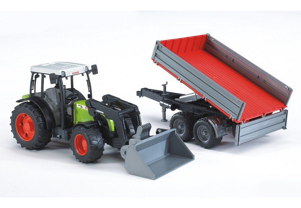bruder® Traktor »Claas Nectis 267 F mit Frontlader und Bordwandanhänger« in bunt