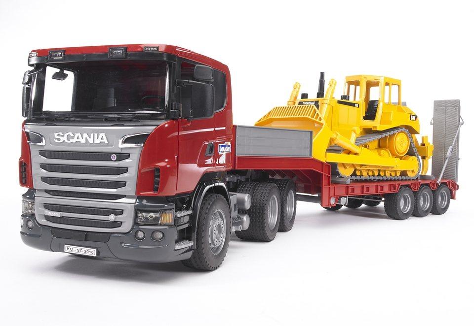 bruder® LKW, »SCANIA R-Serie LKW mit Tieflader und CAT Bulldozer« in rot