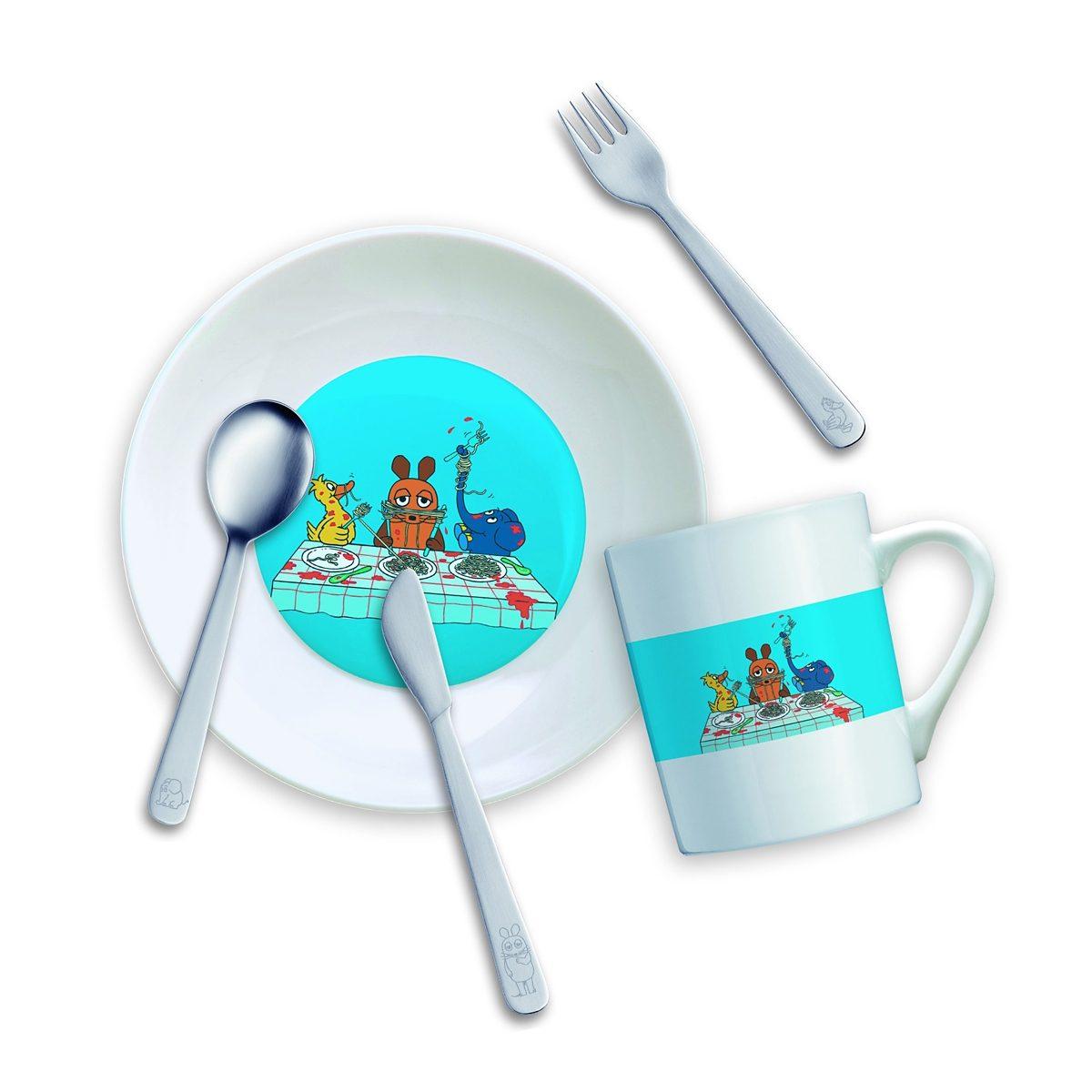 MONO Mono Kinderset mit Teller und Becher DIE MAUS - 5-teilig