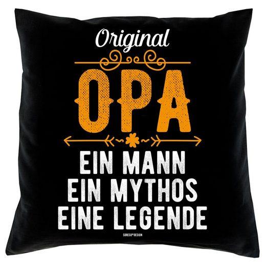 Soreso® Dekokissen »Kissen Original Opa & Urkunde für den Weltbesten Opa«, Geschenk Weihnachten Geburstag Vatertag