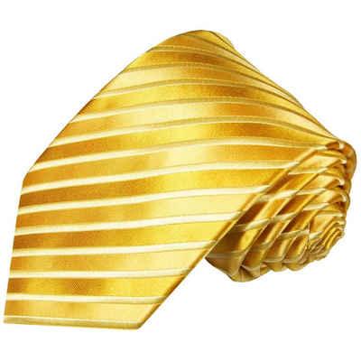Paul Malone Krawatte »Moderne Herren Seidenkrawatte gestreift 100% Seide« Schmal (6cm), gold 953