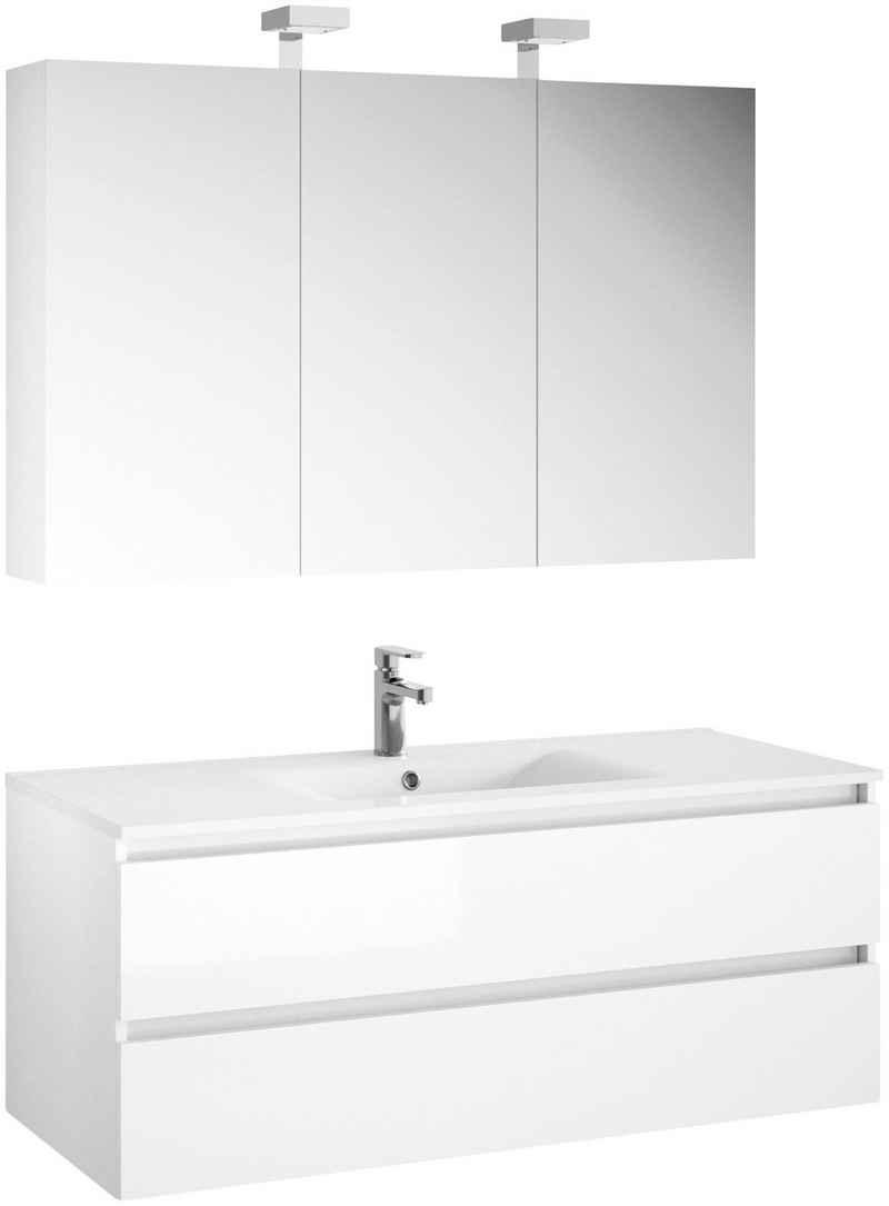 Allibert Badmöbel-Set »Alma«, (3-St), Breite 120 cm, bestehend aus Spiegelschrank mit LED-Beleuchtung und Waschtisch