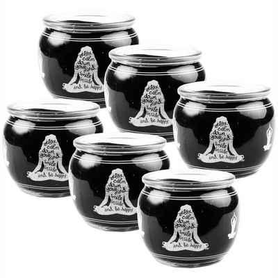 HS Candle Duftkerze (6-tlg), Kerze im Glas, Spruch-Kerze 6er Pack mit ca. 22 Std. Brenndauer, Höhe: 6cm, Ø7cm