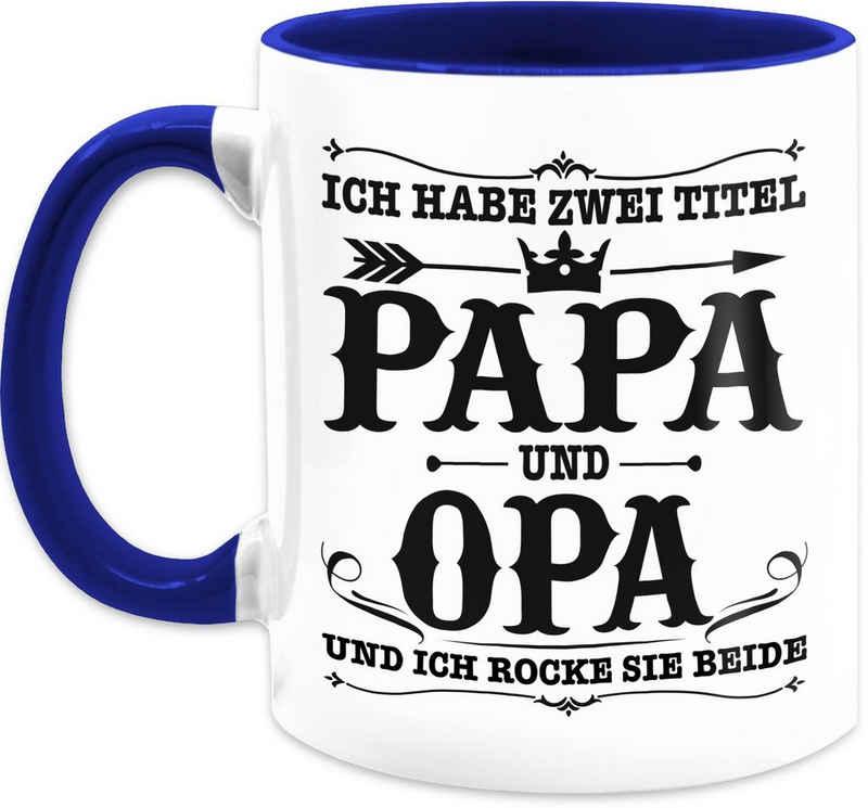 Shirtracer Tasse »Ich habe zwei Titel Papa und Opa / Vintage - schwarz - Vatertagsgeschenk Tasse - Tasse zweifarbig«, Keramik