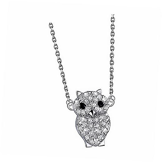 LOTUS SILVER Silberkette »JLP1506-1-1 Lotus Silver Eule Halskette LP1506-1/1« (Halsketten), Damen Kette Eule aus 925 Sterling Silber, silber, weiß