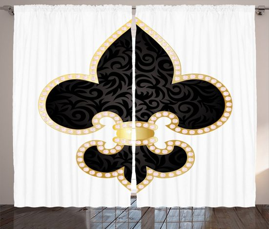 Gardine »Schlafzimmer Kräuselband Vorhang mit Schlaufen und Haken«, Abakuhaus, Jahrgang Lilie von Frankreich