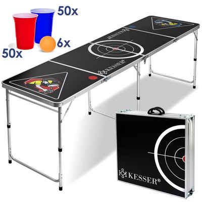 KESSER Klapptisch, Tisch Set für Beer Pong inkl 100 Becher (50 Rot & 50 Blau) 6 Bälle Regelwerk