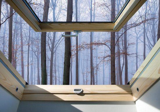 CONSALNET Fototapete »Nebel Wald Fensterblick«, Vlies, in verschiedenen Größen